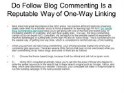 Do Follow Blog Commenting Is a Reputable Way of One-Way Linking