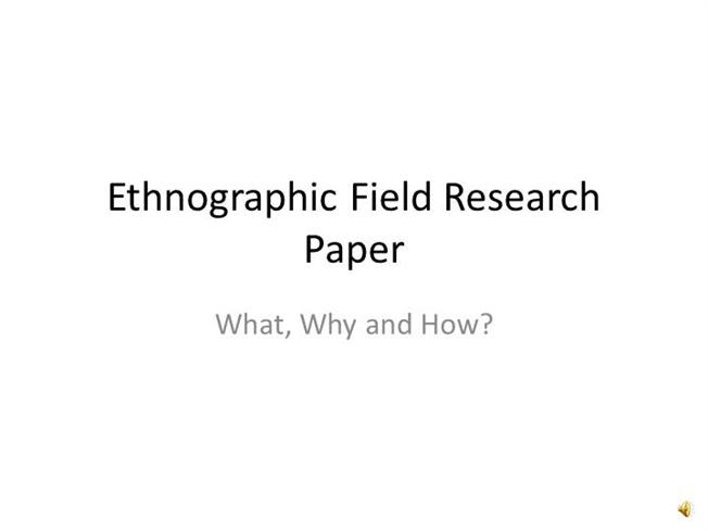 How to write an ethnographic study