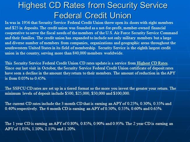 Highest Cd Rates From Security Service Federal Credit Union Authorstream