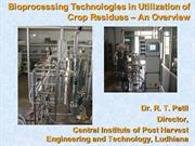 Technologies for Utilisation of Crop Residues