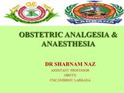 OBSTETRIC ANALGESIA AND ANAESTHESIA