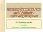 Lumbar Spondylolysis and Listhesis dnbid 2012 Jan