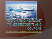 Tips on Finding Flight Ticket Discounts and Coupons