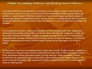 Online Accounting Software and Desktop based software