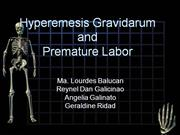 Hyperemesis Gravidarum and Preterm Labor