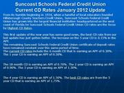 Suncoast Schools Federal Credit Union Current CD Rates January 2012 Up