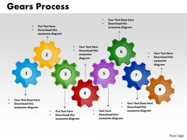1313_635119684866032500 1 linear flow of 8 stages gear process diagram powerpoint diagram