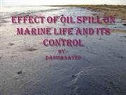 Effects of oil spill and its control