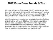 2012 Prom Dress Trends & Tips