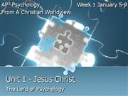 Psychology  Unit 1 Jesus and Psyc