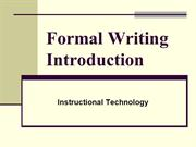 FOrmal Writing Introduction