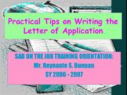 Parts, Format and Application letter