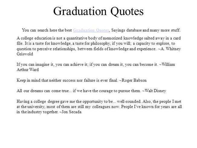 Graduation Quotes Authorstream