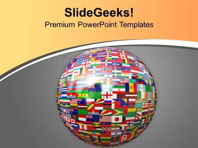july 4th global atlas with all countries flags ppt template