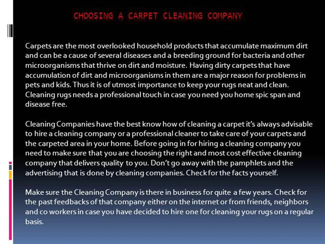 Choosing a Carpet Cleaning Company