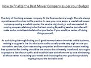 How to finalize the Best Mover Company as per your Budget