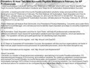 Corcentric to Host Two New Accounts Payable Webinars in February for A