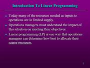 Linear Programming