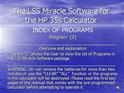 (Z) Index of Programs