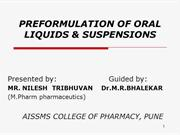 preformulation orals liquids  and suspension