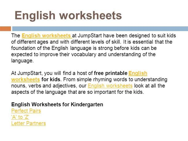 English Worksheets authorSTREAM – Jumpstart Worksheets