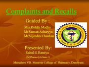 Complaints and recalls BY RAHUL