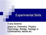 Experimental Skills  Physical Sciences