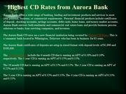 Highest CD Rates from Aurora Bank