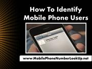 How To Identify Mobile Phone Users