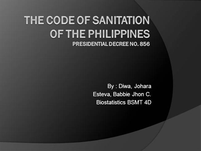 THE CODE of SANITATION of the PHILIPPINES |authorSTREAM