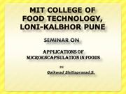 application of microencapsulation in food by gaikwad S.S