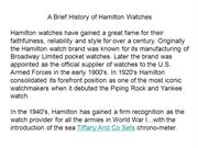 A Brief History of Hamilton Watches