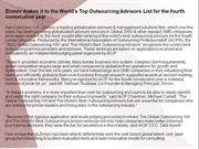 Zinnov makes it to the World's Top Outsourcing Advisors List for the f