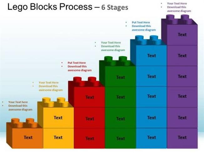 building blocks in growing business graph 6 stages powerpoint diagram