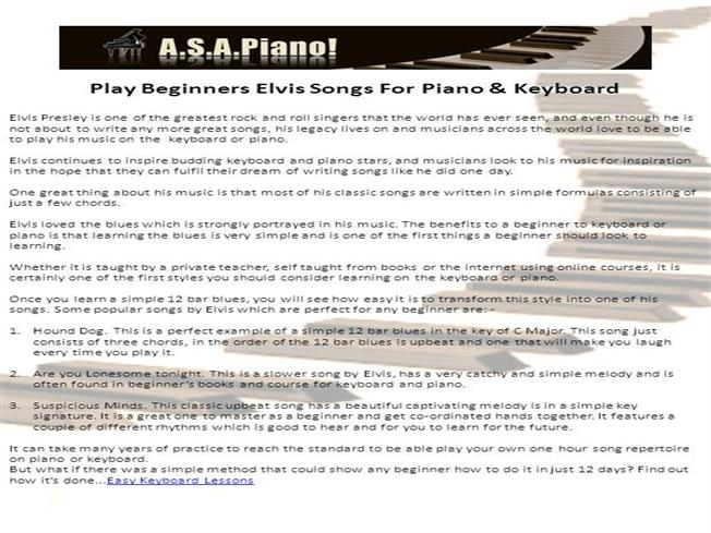 Play Beginners Elvis Songs For Piano Keyboard Authorstream