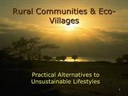 B. Rural Communities & Ecovillages