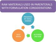 PARENTERAL RAW MATERIALS -RAHUL S