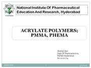 Acrylates polymer by Sharad Jain, NIPER Hyderabad Presentaion