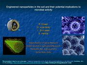 Engineered Nanoparticles and soil microbial activity- R.DINESH