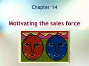 14. Motivating the sales force
