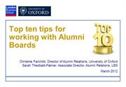 Top ten tips for working with Alumni BoardsMarch2012