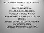 Isolation and Purification of enzymes