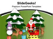 CHRISTIAN CHRISTMAS CELEBRATION WITH SANTA CLAUSE PPT TEMPLATE