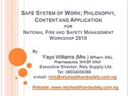 Safe System of Work Presentation by Fayo Williams