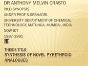 ANTHONY CRASTO Ph.D SYNOPSIS