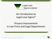 Legal Lean Sigma - Overview of Process Improvement