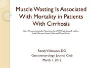 JC2012-03 Muscle Wasting is Associated with Mortality in Patients with