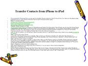 Transfer Contacts from iPhone to iPad