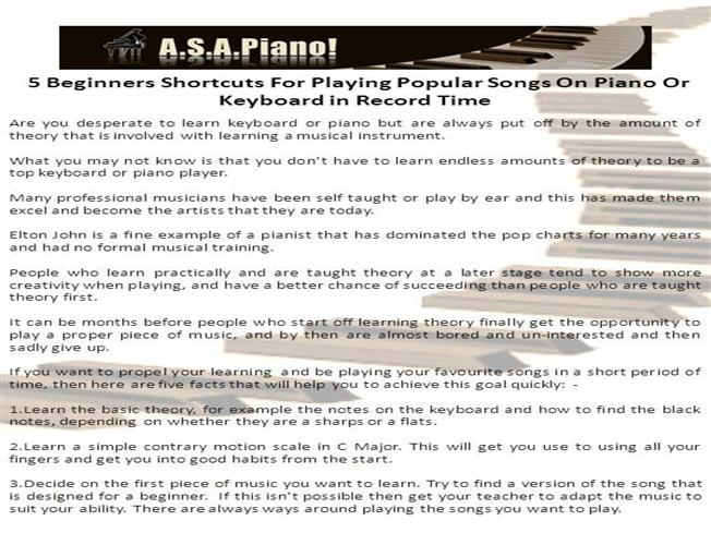 5 Beginners Shortcuts for Playing Popular Songs on Piano or Keyboa