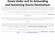 Down Under and its Astounding and fascinating Tourist